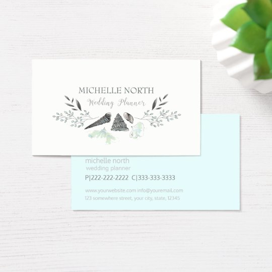 Watercolor Seashells and Flowers Blue ID348 Business Card