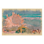 Watercolor Seashells on Beach Large Poster