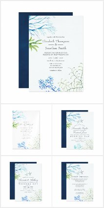 Watercolor Seaweed Beach Themed Wedding