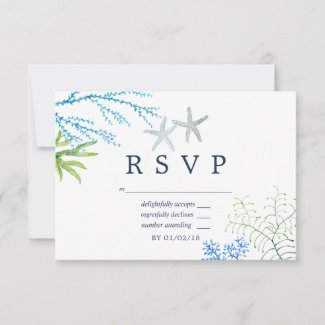 Watercolor Seaweed Beach Themed Wedding RSVP