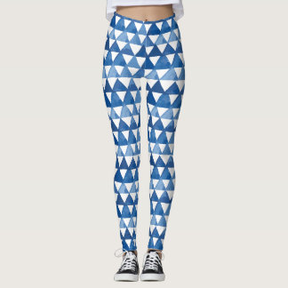 Watercolor shades of blue triangles pattern leggings