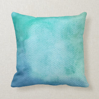 Watercolor Shades of Teal Throw Pillow