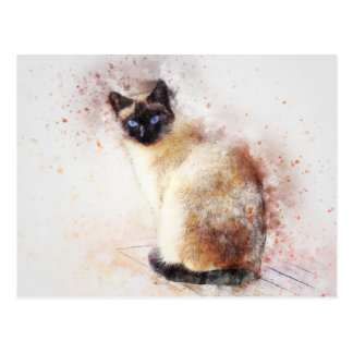 Watercolor Siamese Cat Postcard