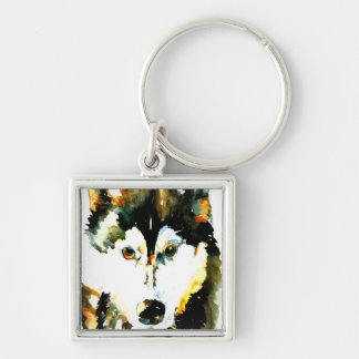 Watercolor Siberian Husky Key Chain
