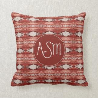 Watercolor Sienna Aztec Tribal Pattern Monogram Throw Pillow