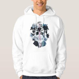 watercolor skull tattoo style hoodie