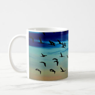 Watercolor sky with Cranes flocking Coffee Mug