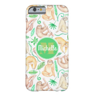 Watercolor Sloth Pattern   Add Your Initial Barely There iPhone 6 Case