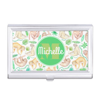 Watercolor Sloth Pattern | Add Your Initial Business Card Holder