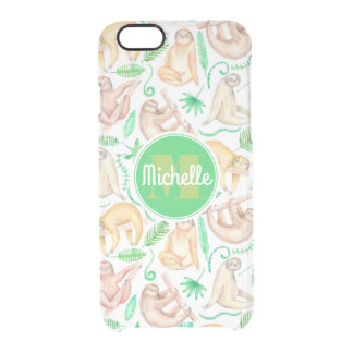 Watercolor Sloth Pattern | Add Your Initial Clear iPhone 6/6S Case