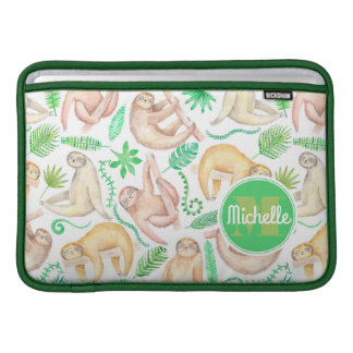Watercolor Sloth Pattern | Add Your Initial MacBook Air Sleeve