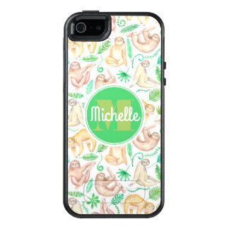 Watercolor Sloth Pattern | Add Your Initial OtterBox iPhone 5/5s/SE Case