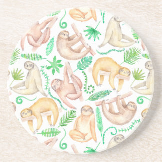 Watercolor Sloth Pattern Coaster