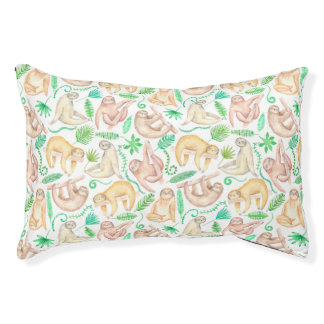 Watercolor Sloth Pattern Small Dog Bed