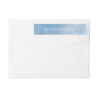 Watercolor Snowfall Hanukkah Return Address Wrap Around Label