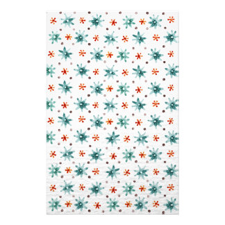 Watercolor snowflakes on a white background stationery paper