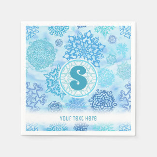 Watercolor Snowflakes with Monogram and Text Paper Napkin