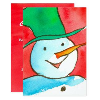 Watercolor Snowman Christmas Party Invitation