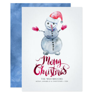 Watercolor Snowman Merry Christmas Card