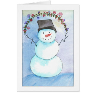Watercolor Snowman With Floral Wreath Card