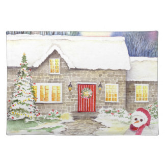Watercolor Snowy Cottage by Farida Greenfield Placemat