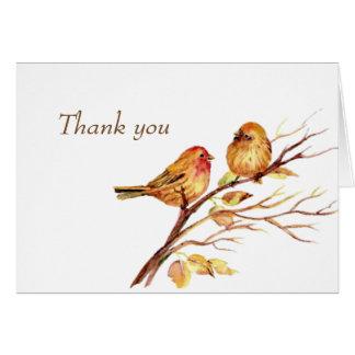 Watercolor Song Sparrows Brown Birds Thank you Card