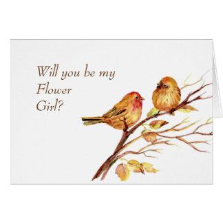 Watercolor Song Sparrows Cute Brown Birds Card