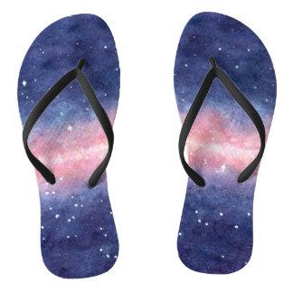 Watercolor Space Flip-Flops Flip Flops