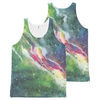 Watercolor Space Nebula Galaxy All-Over-Print Tank Top