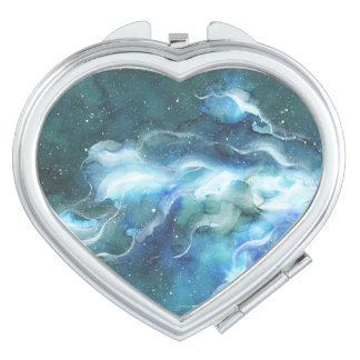 Watercolor Space Nebula Galaxy Mirror For Makeup