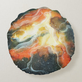 Watercolor Space Nebula Galaxy Round Pillow