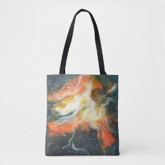 Watercolor Space Nebula Galaxy Tote Bag