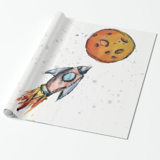 Watercolor Space Rocket Wrapping Paper