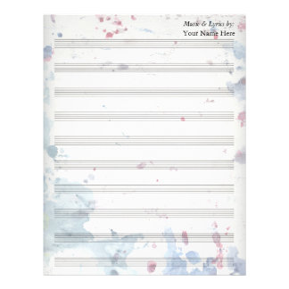Watercolor Splash  Blank Sheet Music 10 Stave Letterhead Template