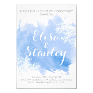 Watercolor splash coral reef blue engagement party card