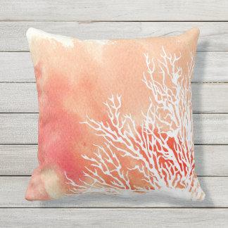 Watercolor splash coral reef modern beach summer outdoor pillow