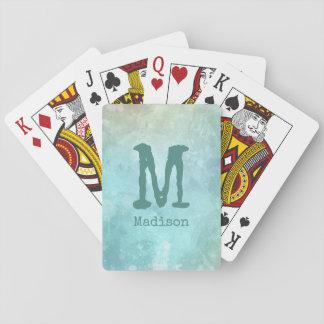 Watercolor Splash custom monogram playing cards