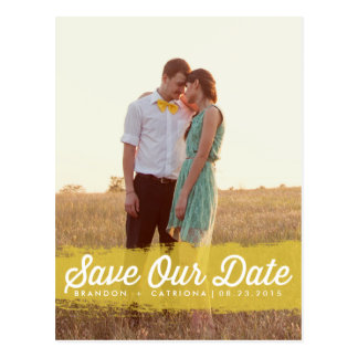 Watercolor Splash | Yellow Save Our Date Postcard