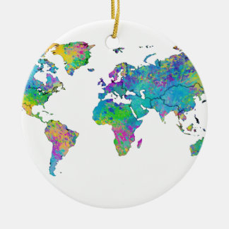 Watercolor Splashes World Map Ceramic Ornament