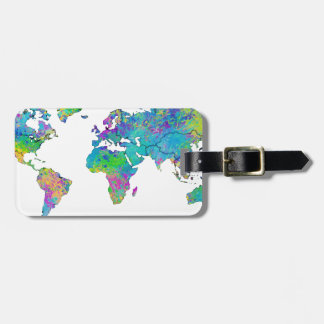 Watercolor Splashes World Map Luggage Tag
