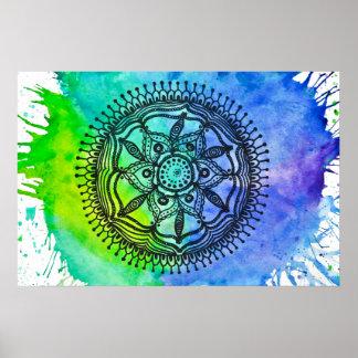 Watercolor Splatter Mandala Poster. Poster