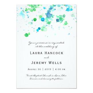 Watercolor Splatter Wedding Invitation