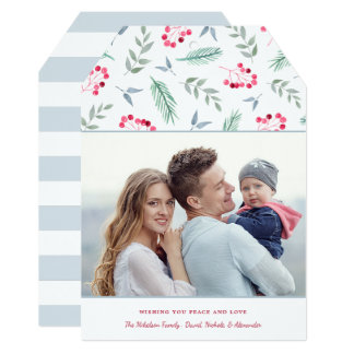 Watercolor Sprigs and Berries Photo Holiday Card