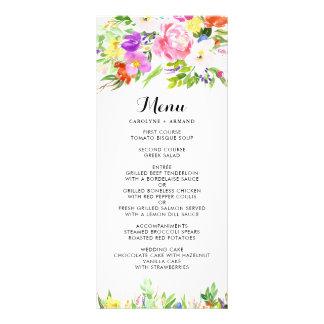 Watercolor Spring Blooms Floral Menu Card