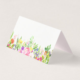 Watercolor Spring Blooms Floral Place Cards