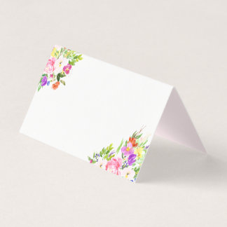 Watercolor Spring Blooms Floral Place Cards II