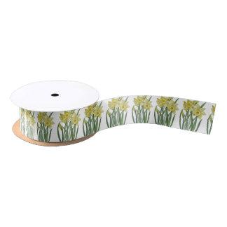 Watercolor Spring Daffodils Botanical Illustration Satin Ribbon