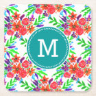 Watercolor Spring Floral Blooms Square Paper Coaster