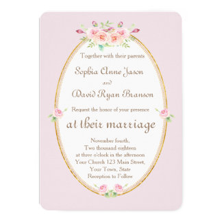 Watercolor Spring Floral Gold Wedding Invitation