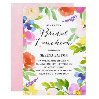 Watercolor Spring Flowers Bridal Luncheon Card